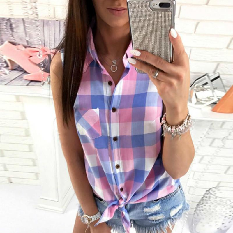 828b83a8108a5 Summer 2018 Shirts Blouses Women Sexy Lattice Plaid Blouse Turn-down Collar  Sleeveless Shirt Casual Tops for Women Online with  31.38 Piece on  Modeng02 s ...