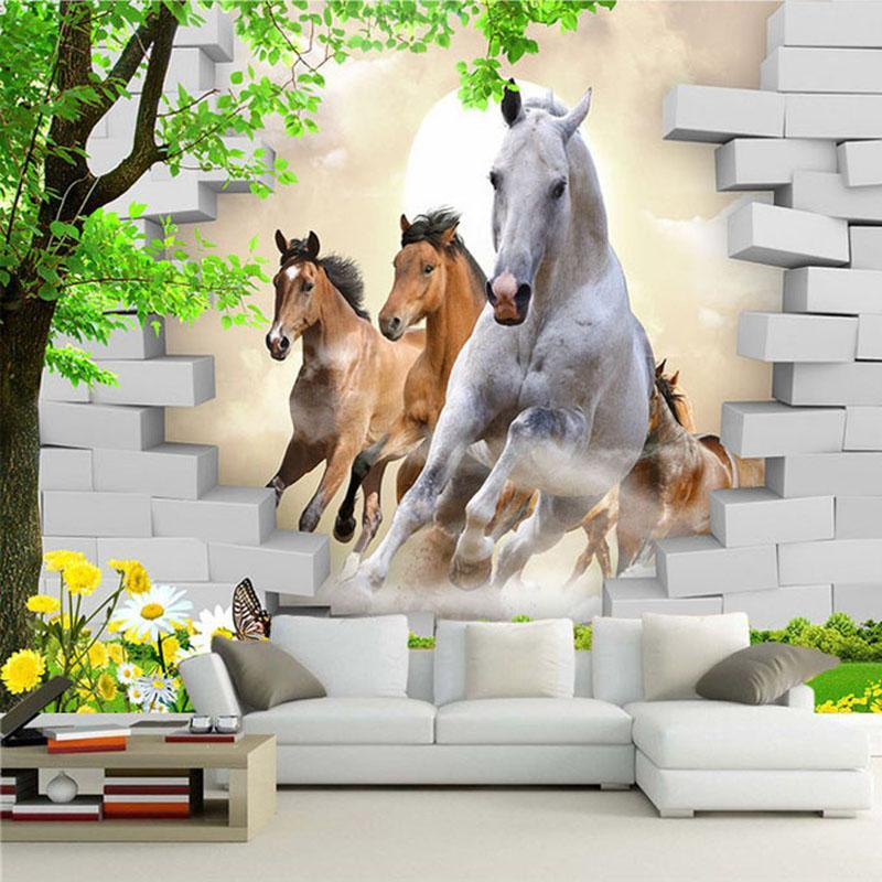 Custom Photo Wallpaper 3d Stereo Horse Broken Wall Mural Brick Wall