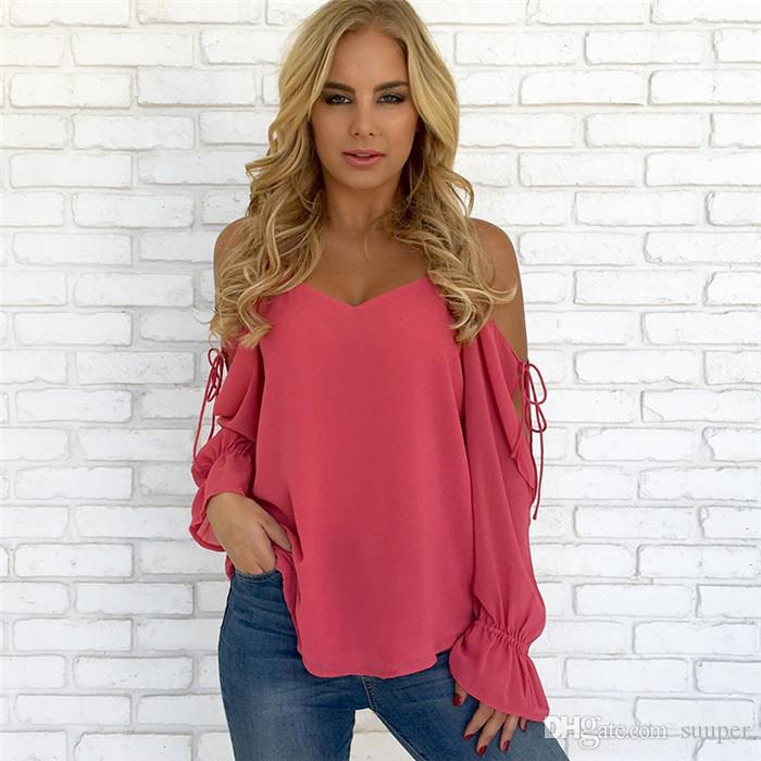 0982544aab 2019 Sexy Cold Shoulder V Neck Strap Spring Summer Chiffon Blouses Shirt  Women Casual Long Sleeve Blouse Beach Partty Vintage Pullover Tops From  Suuper