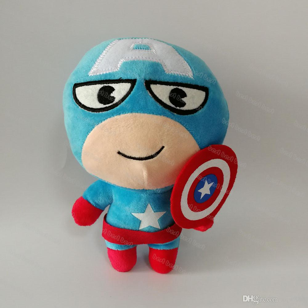 """New arrival 7 Style 8"""" 20cm The Avengers Captain America Spider-man Thor Iron man Hulk Superman Plush Doll Stuffed Toy For Baby Gift"""