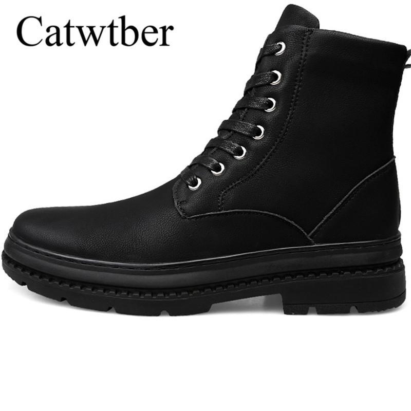 6893c25b35767d Acheter Catwtber 2018 Hommes Boot De Mode Automne Hiver Homme En Plein Air  Neige Bottes Chaussures Fourrure Chaud En Peluche La Cheville Travail Hommes  ...
