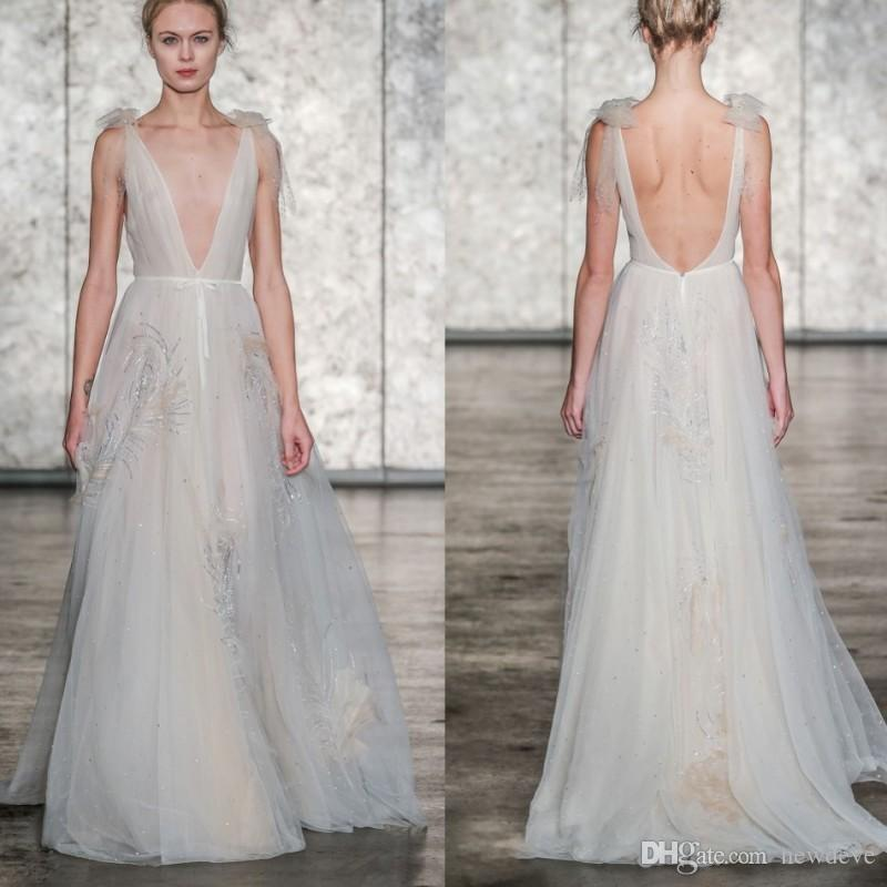 Inbal Dror Wedding Gowns For Sale: Discount Inbal Dror 2018 Wedding Dresses Backless Sequined