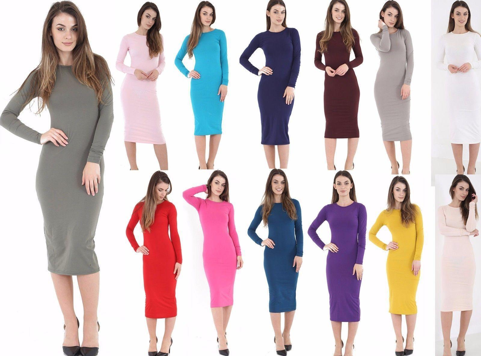 5c8655487e89 WOMENS LADIES GIRLS LONG SLEEVE MIDI DRESS STRETCH BODYCON PLAIN JERSEY  MAXI Dresses Long Sleeve White And Gold Dress Women Floral Dress From  Wallpaperroll