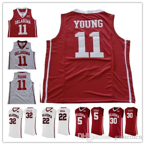 Cheap Oklahoma Sooners  11 Trae Young Red White 100% Stitched NCAA ... dbd5c88cb
