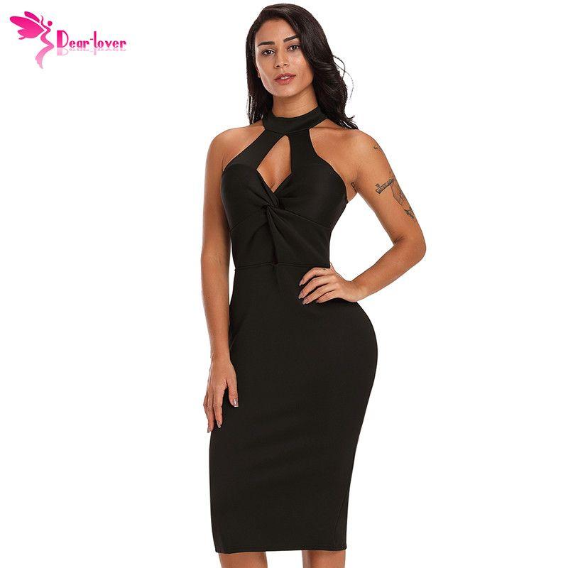 17856040df8c7 Dear Lover Women Summer Knee Length NightClub Wear Sexy Ladies Black Red  Twist Front Halter Bodycon Midi Dress Vestidos LC610169