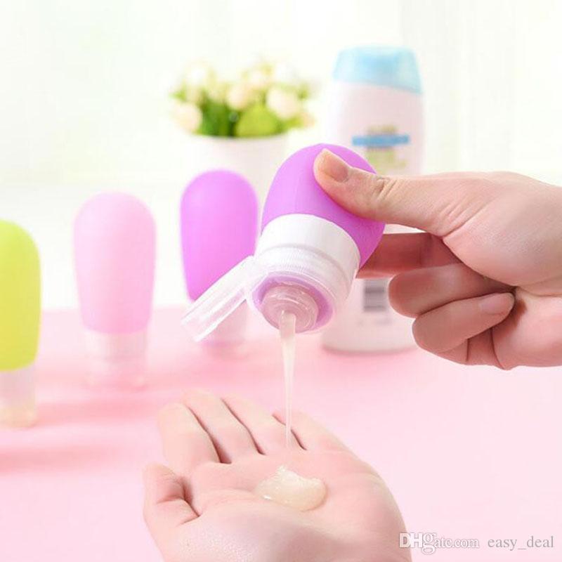 Flacone da 38 ml in silicone lozione Shampoo Trucco rotondo vuoto Bottiglie riutilizzabili Bottiglie di stoccaggio imballaggio in viaggio ZA6023