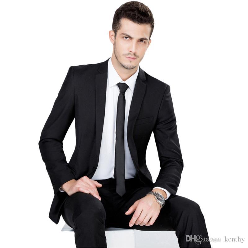 Özel Üretim Yakışıklı Siyah Erkekler Suit Çentikli Yaka Slim Fit Biçimsel İş 2018 Terzi Smokin Akıllı Casual Blazer Sağdıç Prom Takımları