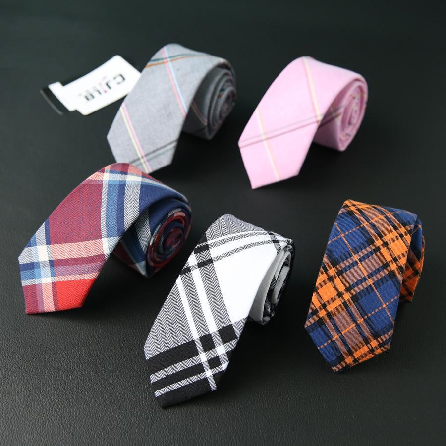 colori delicati ultimo stile scarpe classiche Cravatte in tartan per uomo Cravatte casual in cotone Gravatas Cravatte in  cotone per cravatta Gravata Classic Corbata Cravatte 10pcs / lot