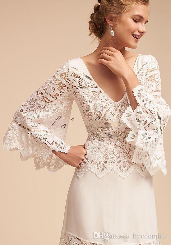 Country Style Hippie Brautkleider 2018 Lace Bell Sleeve Plus Size V-Ausschnitt BHLDN voller Länge Spitze Chiffon Bohemian Hochzeit Brautkleid