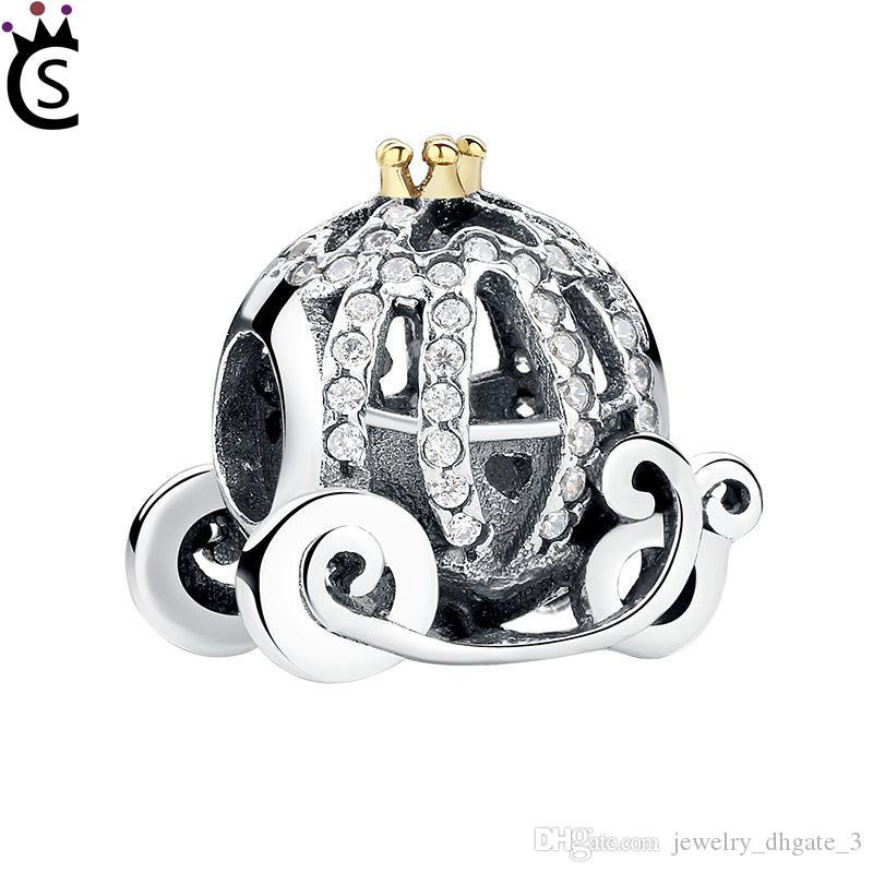 Authentische 925 Sterling Silber Perlen 2017 Hip Hop Schmuck Charme Cinderella Kürbis mit Zirkon Perlen Schmuck passen Pandora