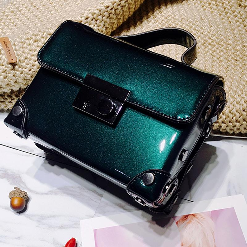 box bag women patent leather handbag fashion hand bag small trunk messenger bags ladies makeup party bags sling shoulder purse