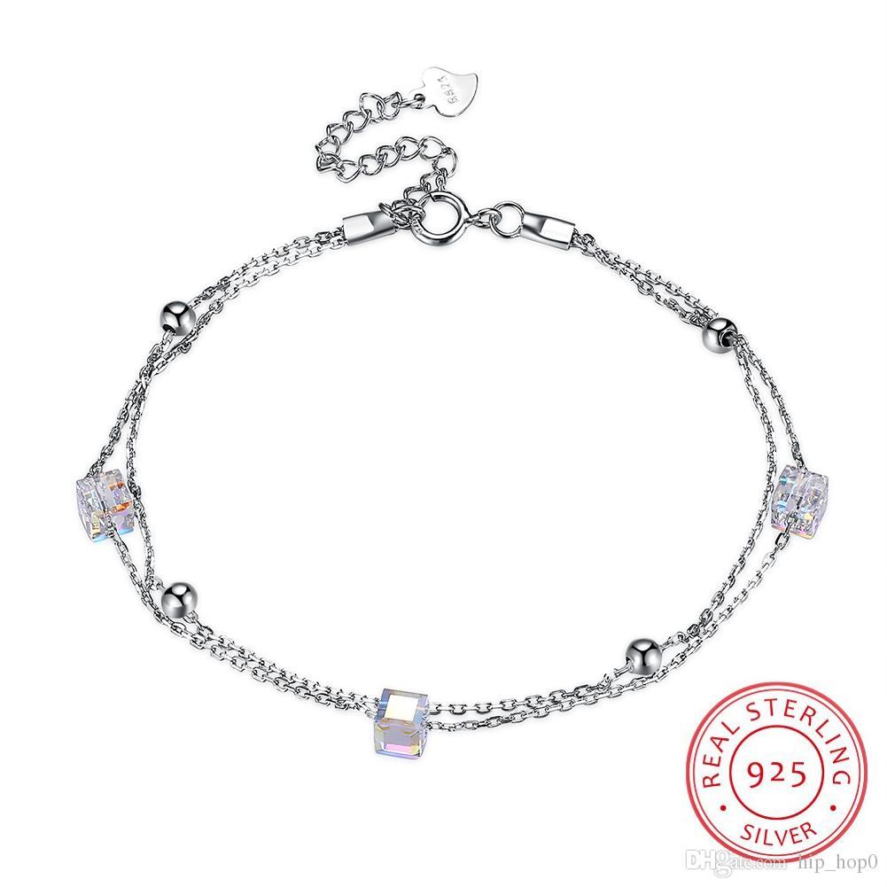 New Arrival S925 Sterling Silver Bracelet Women Beautiful Crystal