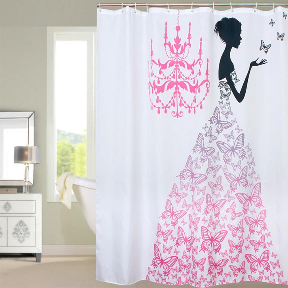 2019 Fabric Polyester PINK Butterfly Princess Waterproof Shower Curtain Thicken Bathroom 180 Cm From Sophine11