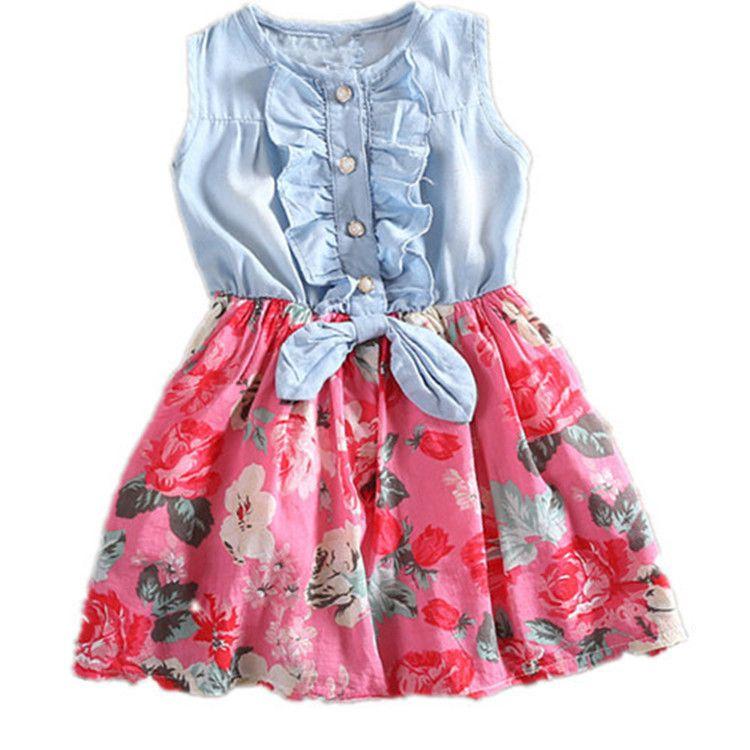 2017 New Summer Casual Fashion Baby Girls Dress Flower Sleeveless Denim Fashion Vest Floral Baby Kids Sundress