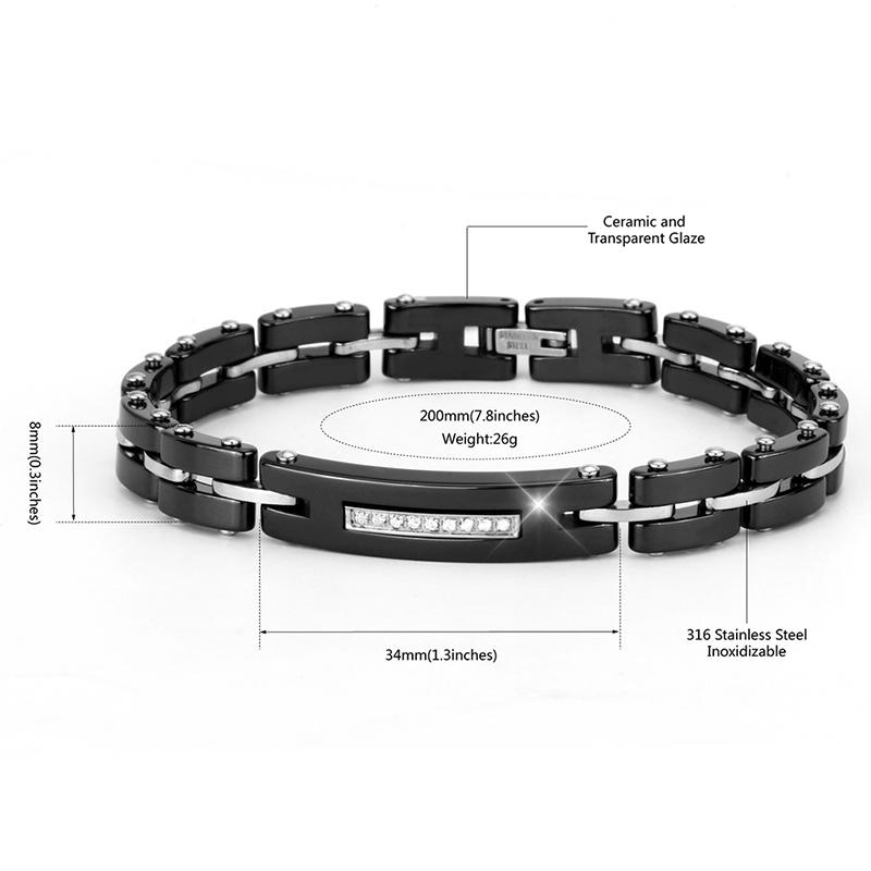 8MM Width New Ceramic Bracelets With Bling Rhinestone Good Quality Black White Ceramic Women Bracelet With Watch Chain For Women