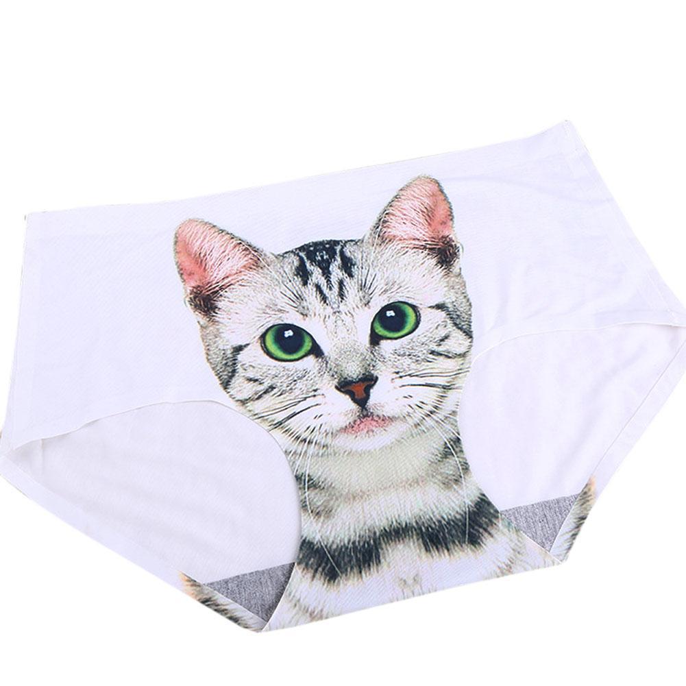 2017 New Fashion Ladies Pussy Cat Sexy Panties Briefs Screen Printed Apparel Undies -MX8