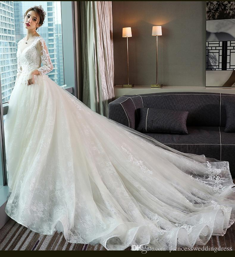 Wedding Dress V Neck Long Sleeve Organza Lace Embroidered Castle