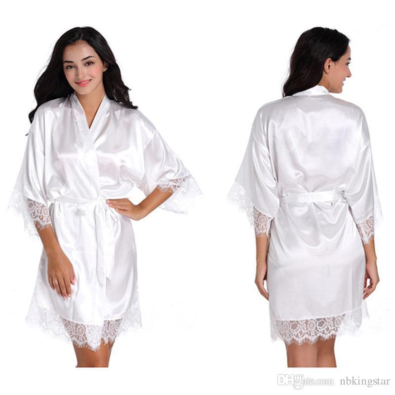 0417894f4 Compre De Cetim De Seda Das Mulheres Curto Lace Up Kimono Robe Sleepwear  Sexy Lady Vestes De Casamento Roupão De Nbkingstar