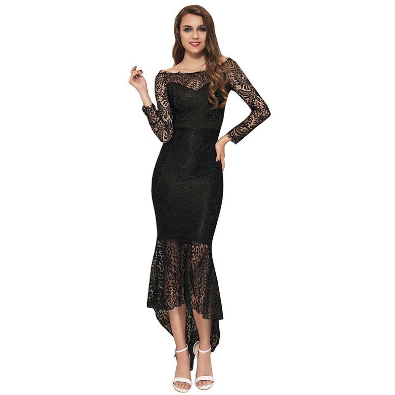 Plus Size Maxi Dress Patchwork Ankle Length Lace Work Autumn Real