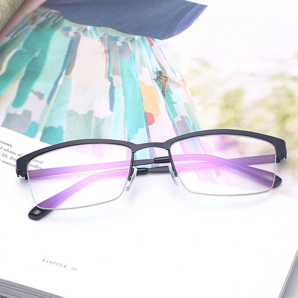 e6529ba6cbe42 Compre Metade Do Quadro Óculos Quadrados Óculos Claros Óculos Vintage  Quadro Para Homens Lente De Leitura Lente Óptica Para O Prescimento 1021A  De ...