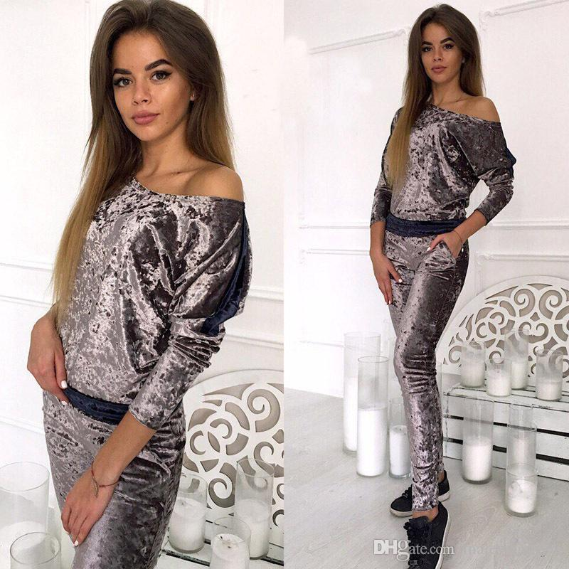 Fashion Slim Women Velvet Tracksuits Long Sleeved Tops Long Pants 2pcs Clothing Sets Sports Suits