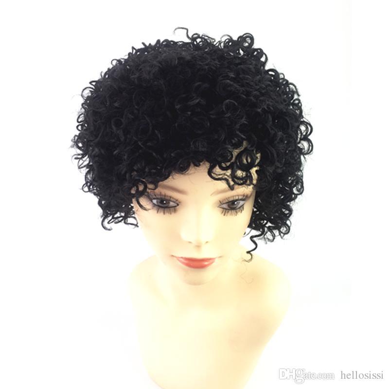 Capelli ricci crespi 8A Natural Deep Curl Parrucca piena del merletto Malesia Afro Kinky riccia parrucca del merletto Capelli umani economici morbidi e spessi