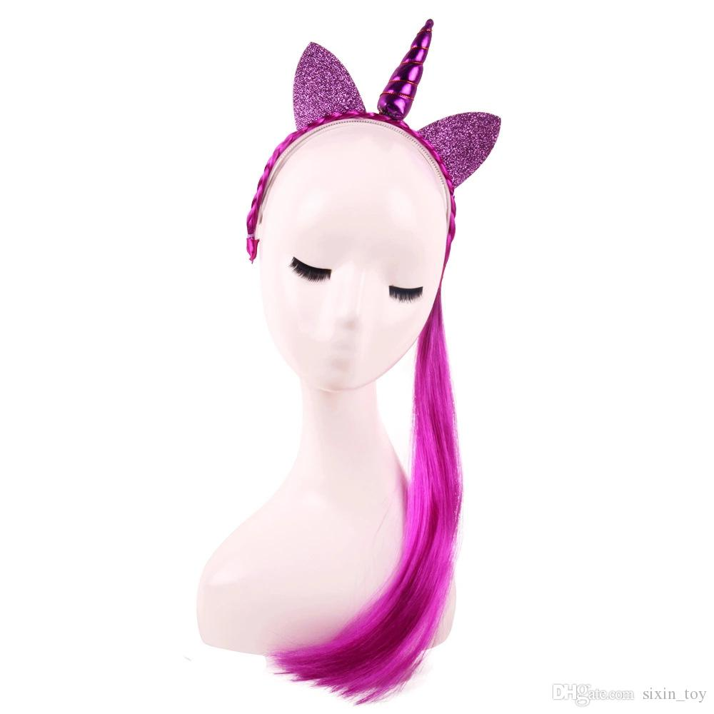 New Design Hair Sticks Unicorn Horn Headband With Wig braids Christmas Party Girl Lady Cosplay Glitter Ear Hairband filler bag kid heddress