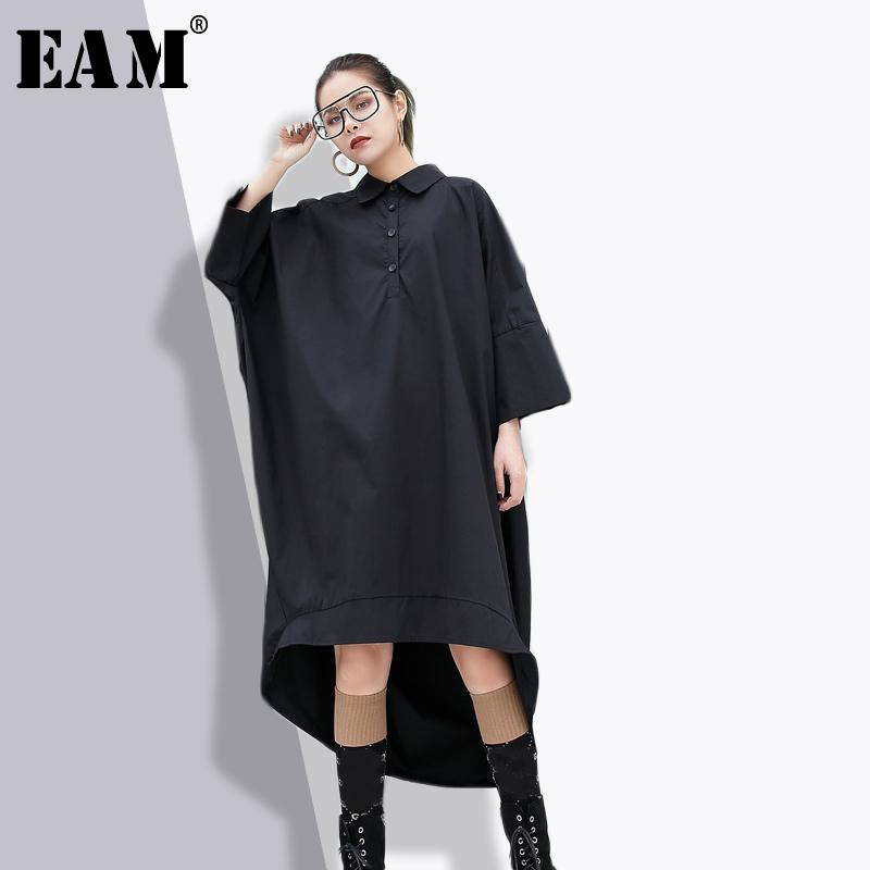 EAM 2018 New Spring Lapel Nine-part Sleeve Black Loose Big Size ... 13707fdf0d2b