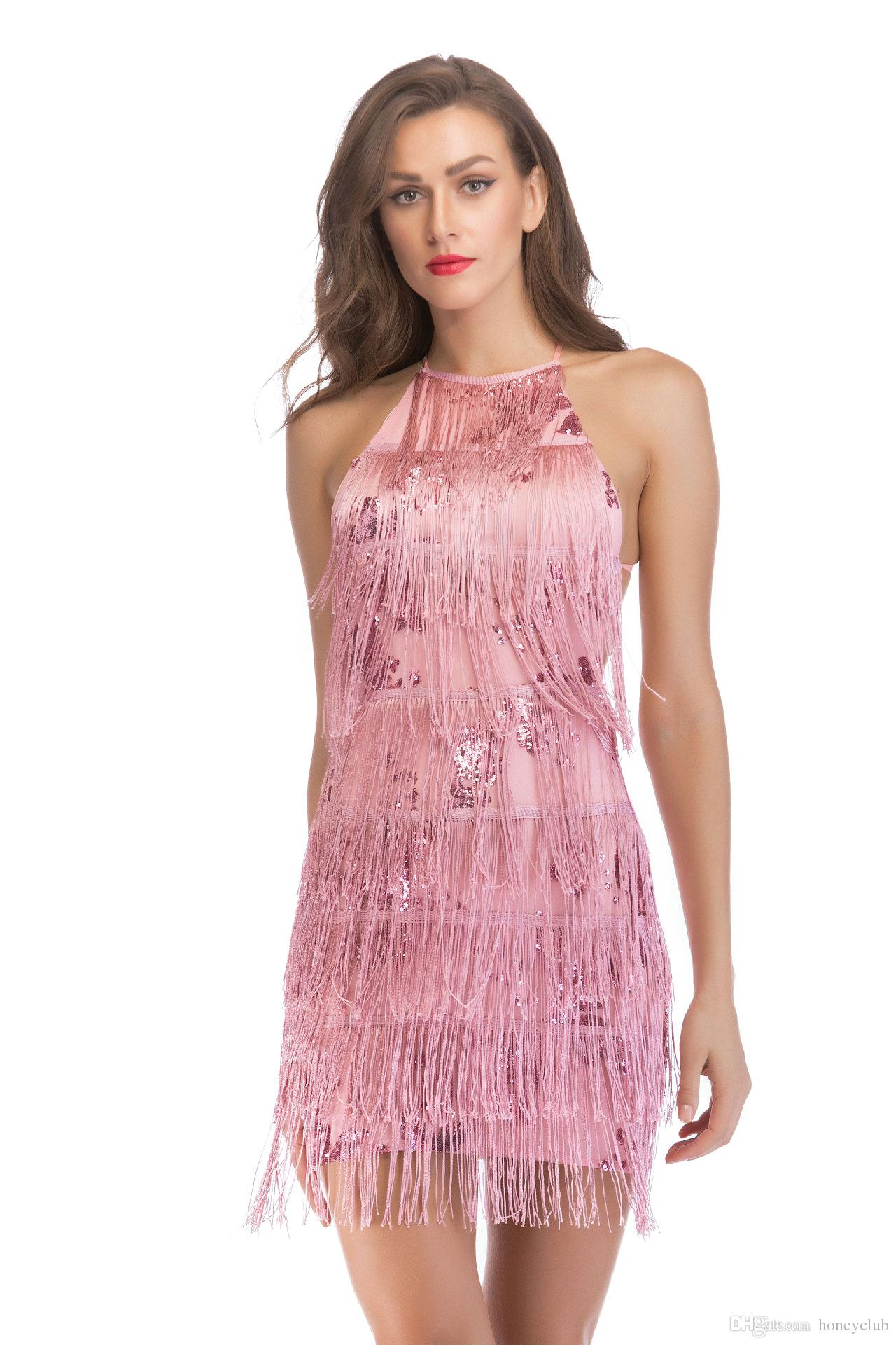 3e9e1c72c3 Sexy Red White Black Apricot Sequined Exposed Tassel Bodycon Party Dress  Elegant Sequins Embellished Fringe Sequin Halter Bandage Dress