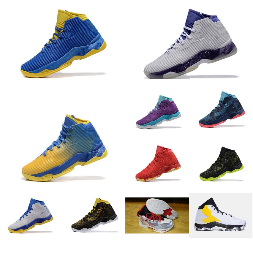 58003884e1b2 ... hot acheter pas cher hommes ua curry 2.5 chaussures de basket ball  rouge violet blanc bleu