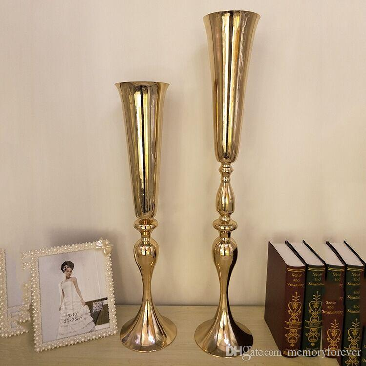Large Diamete Tabletop Metal Vase Decorative Flowers Tall Vases For