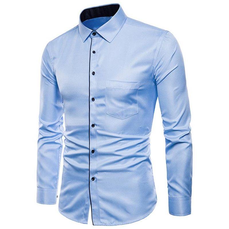 3830683b2b Compre Homens Camisa Social Manga Longa Formais Casuais Ternos Magros Para  Os Homens Slim Fit Masculino Social Business Vestido Camisa Moda Hombre  2018 De ...