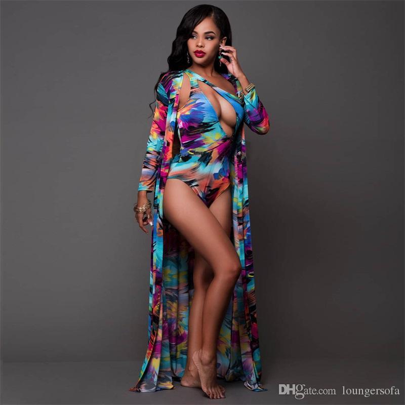 Bikini Set Sling Baskı Uzun Kollu Plaj Coverup İki Adet Takım Elbise Seksi Femme Mayo Mayo Lady Kadın Süt Ipek 38yj V
