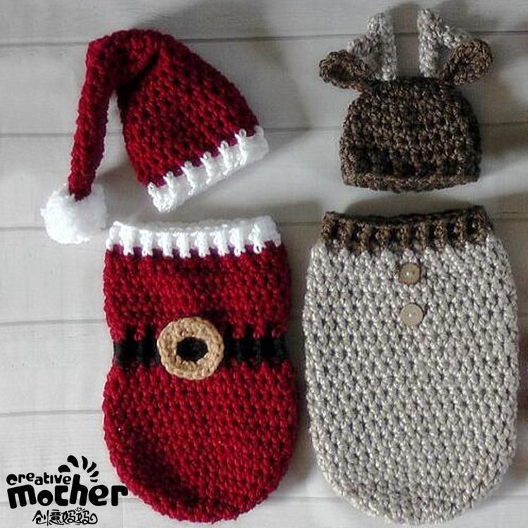 Großhandel Wolle Weihnachten Set Schlafsack Säuglingskind Fotografie