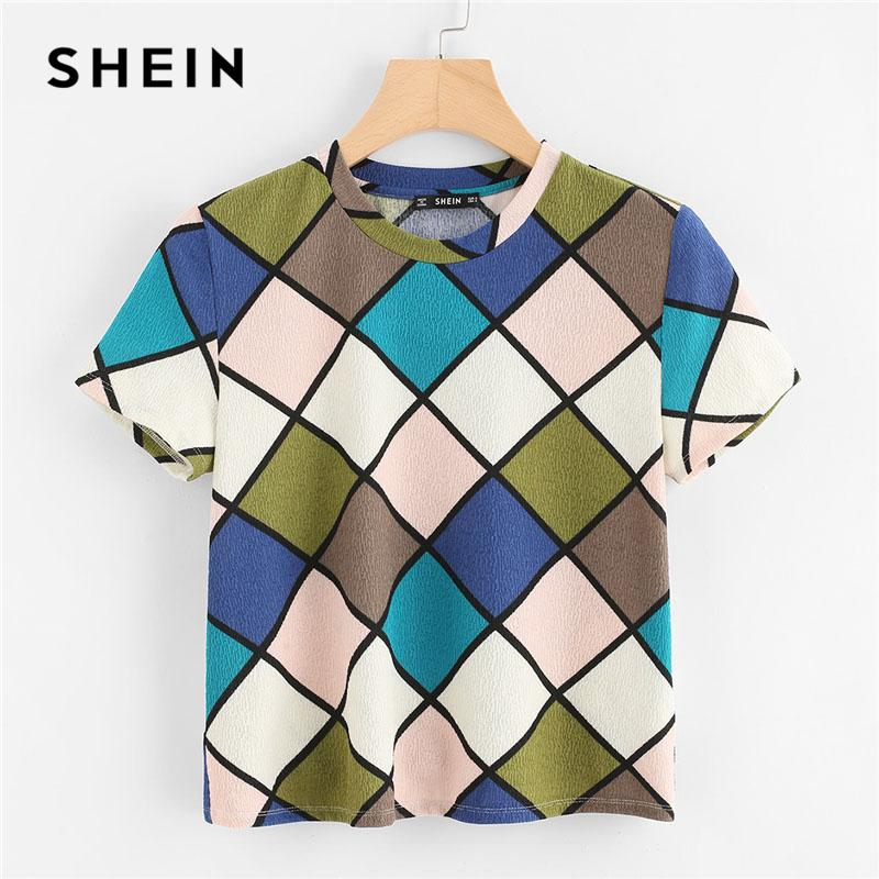 3d844ec006 SHEIN Geometric Print Textured Top Women Round Neck Short Sleeve Clothing  Stretchy Top Tee 2018 Summer Casual T Shirt T Shirt Printing Shirts From  Vanilla04 ...
