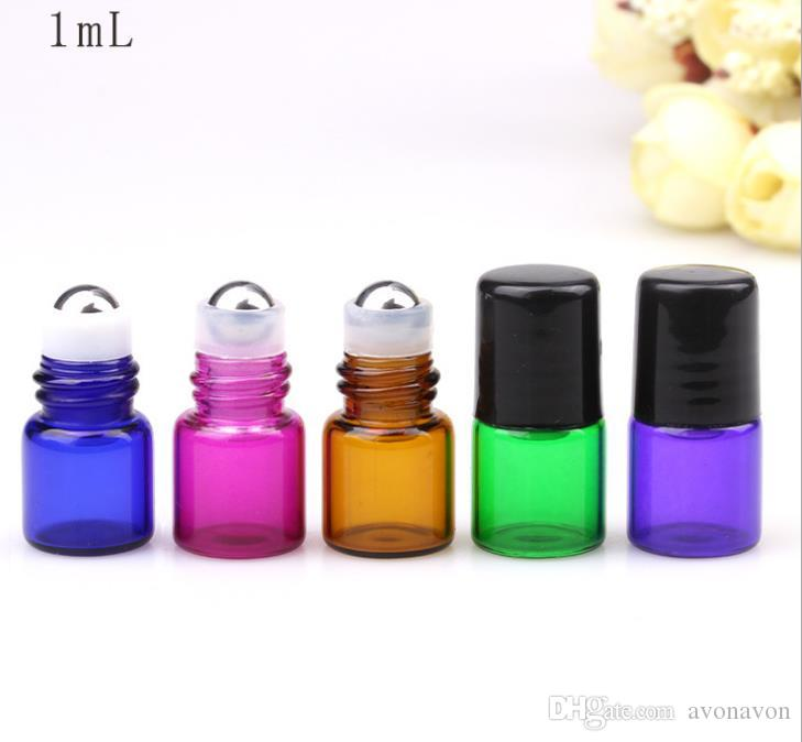 2018 high Colorful purple blue 1ML Perfume Amber Mini Glass Bottle, 1CC Amber Sample Vial,Small Essential Oil Bottle a666