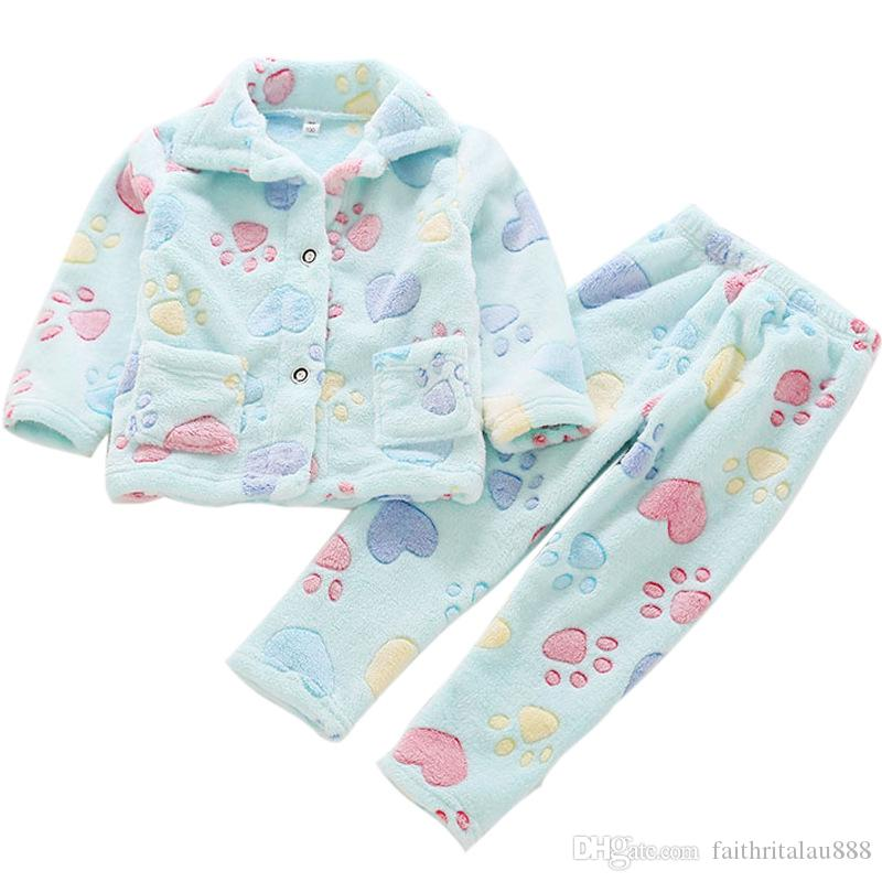 691f64cb7071 Newest Autumn Winter Nightwear Boys Girls Pajamas Sets Long Sleeve Flannel  Coats Pants Children Home Clothes Set Printed Bathrobes Little Girl  Christmas ...
