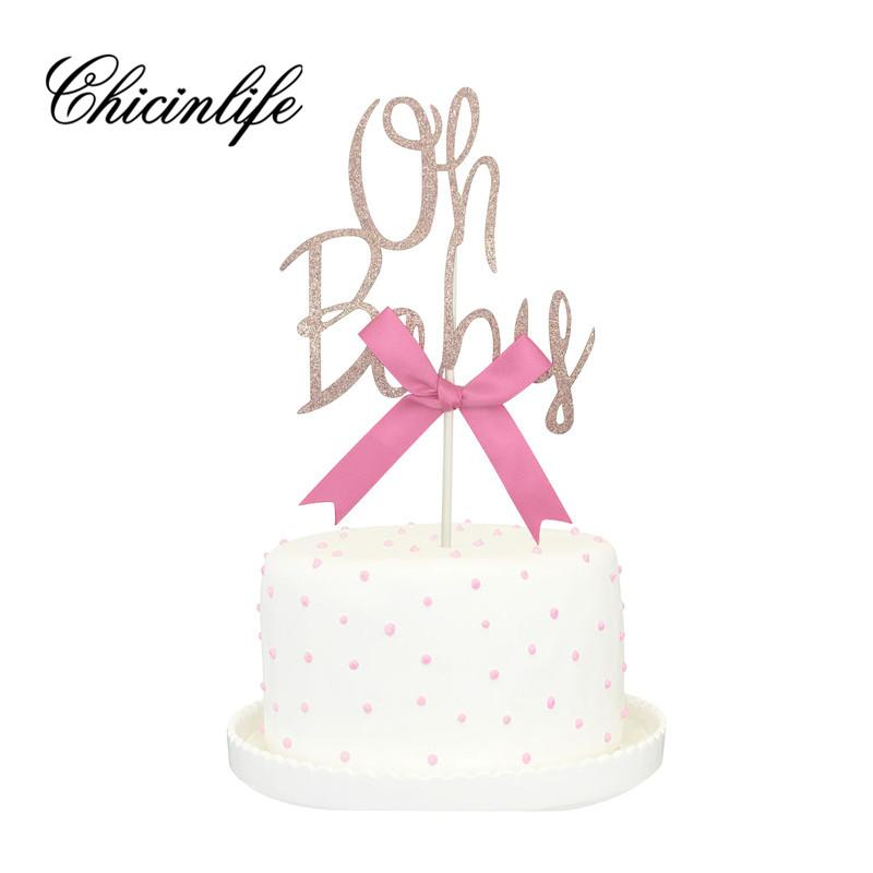 Chicinlife 1pcs Gold Glitter Oh Baby Cake
