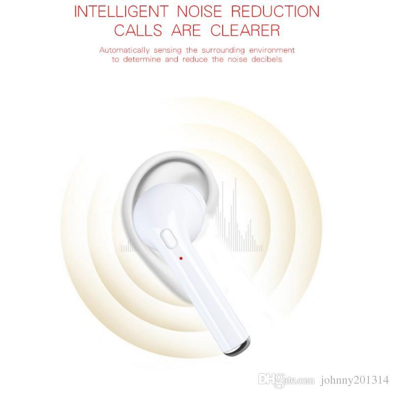 i7 TWS Auriculares Bluetooth con cable de carga Micrófono Mini Gemelos Auriculares inalámbricos Auriculares portátiles en la oreja Para el controlador Caja de venta al por menor Mejor HBQ