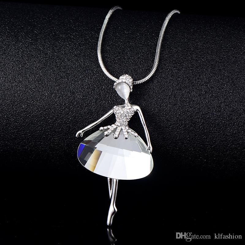 Nuevas llegadas Elegante Bailarín de Ballet Ángel Colgante, Collar de Cadena Larga Collar de Declaración de Cristal Austriaco Para Las Mujeres Collier Bijoux Regalo de Mujer