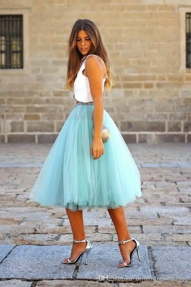 2018 Turquoise Two Pieces Party Dresses Cheap Draped Tulle Satin Knee Length Short Prom Dress With Detachable Tutu Skirt