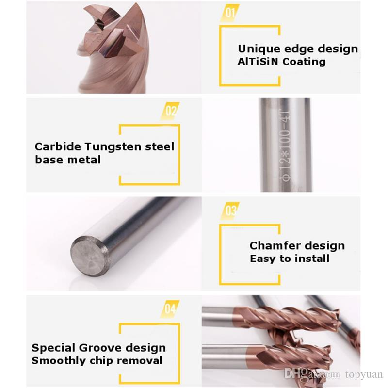 12mm HRC55 AlTiN Coating 4 Flutes End Mill Cutter Tungsten Carbide End Mill Cutter CNC Tool