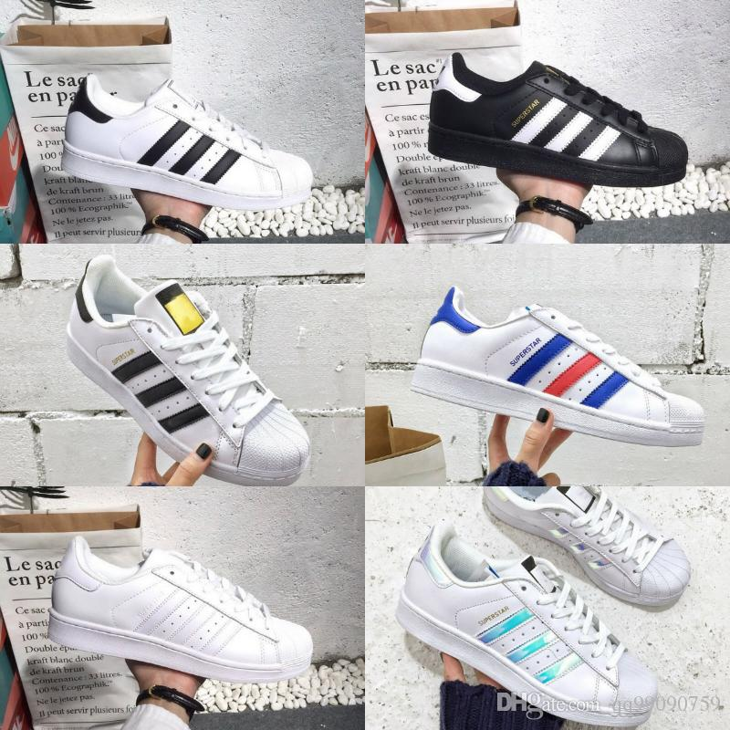 pretty nice ba338 47d7c Acheter 2018 Nouvelles Superstar Adidas Superstars Shoes Chaussures  Superstars Noir Blanc Or Hologramme Superstars Juniors 80s Fierté Sneakers Super  Star ...