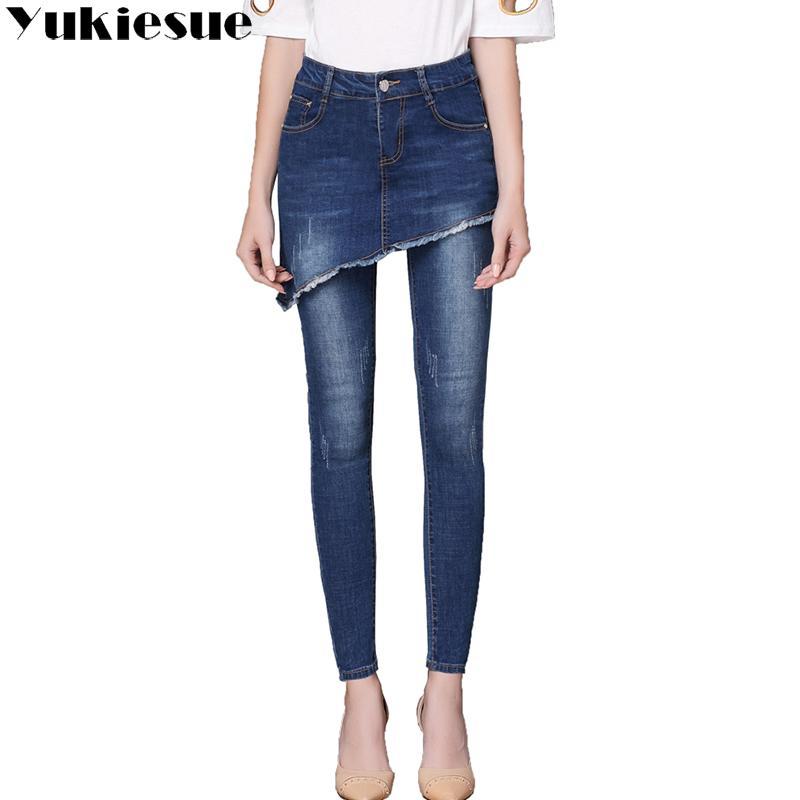 ae43a46f4 Compre Bordado Calça Jeans Feminino 2017 Alta Wasit Denim Jeans Vintage  Mulher Skinny Longo Lápis Calças Saias Mulheres Plus Size De Donahua, ...
