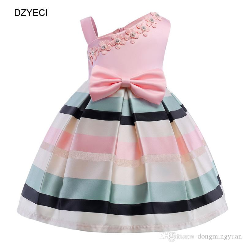 71b627792e4 2019 Elegant Fancy Party Dresses For Teenage Girl Bow Costume Ceremony Bridesmaid  Child Sling Striped Floral Wedding Frock Kid Graduation Gown From ...