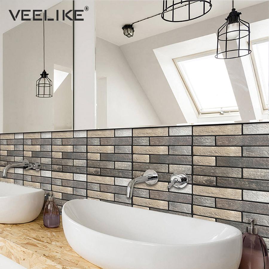 3D Ziegelstein Küche Backsplash Fliesenschale und Stick PVC Selbstklebende  Tapete für Badezimmer Wohnzimmer Wohnkultur Wandpapier