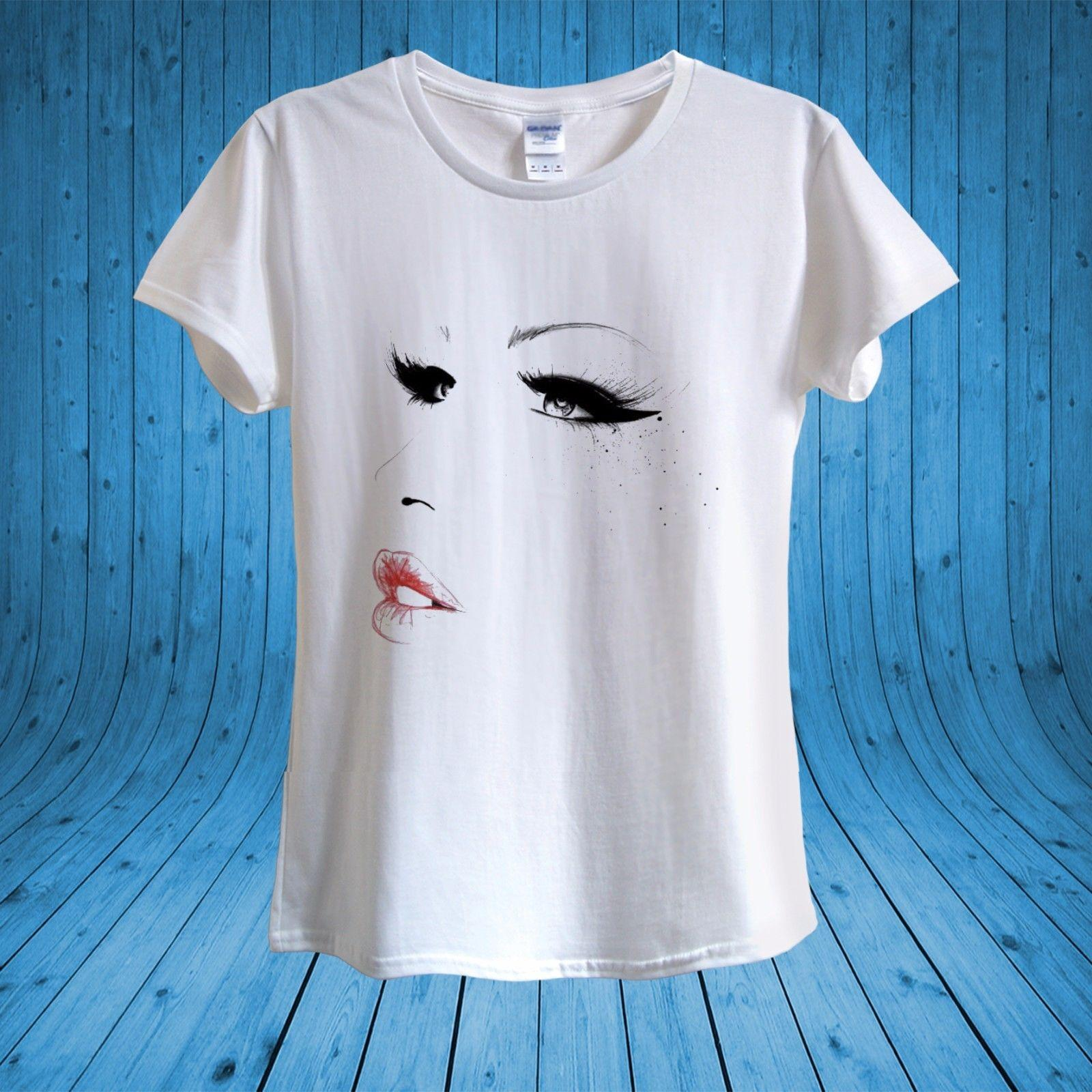 c74d45d3c465 Details zu Girl Face Smokey Eyes Eyelashes Lips Make-up T-shirt 100% cotton  unisex women Casual Funny free shipping Unisex tee gift