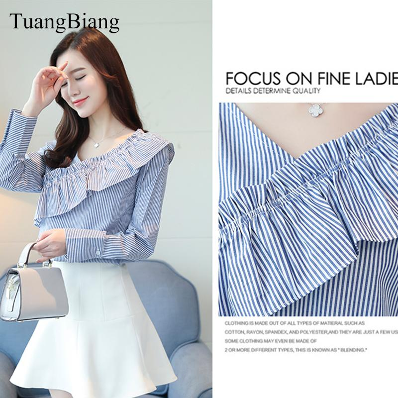 fff1c467d8 2019 2018 New Spring Korean Loose Cotton Striped Blouse Female Ruffles V  Neck Long Sleeve Shirt Women Office Working Wear Tops From Baimu, $21.31 |  DHgate.