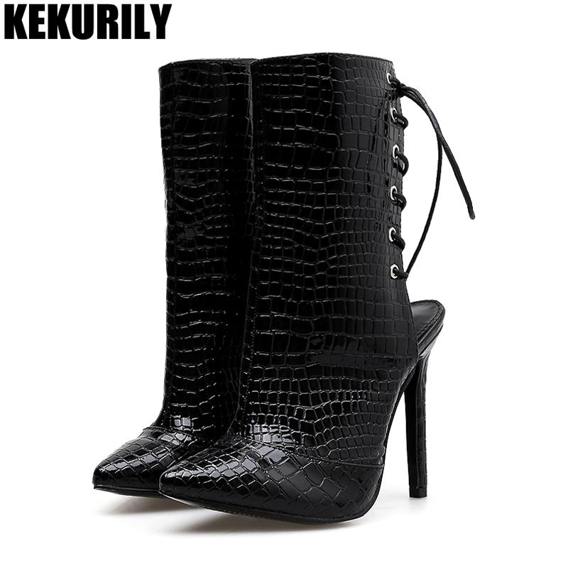 8e842716806 Snake Skin Ankle Boots Women Shoes Sexy Cross Strap High Heels Boot Ladies  Hollow Booties Apricot Black Gray Zapatos De Mujer Booties Football Boots  From ...
