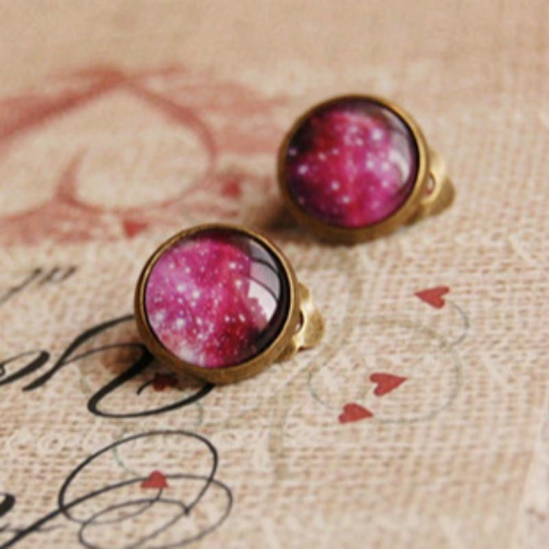 Flyleaf Retro Galaxy Clip On Earrings Without Piercing for women handmade vintage Psychedelic sky bronze cartilage Ear Cuffs